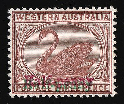 "WESTERN AUSTRALIA 1895 ""Half-penny"" on Swan 3d DOUBLE in red & green MNH **"