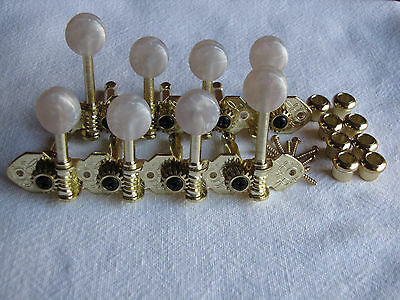 Mandolin F-Style Gold Engraved Geared Tuners Machine Heads with Pearloid Buttons