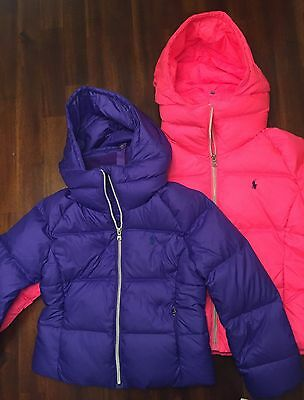 POLO RALPH LAUREN Down Puffer Coat Jacket $175 Girls size S 7 PURPLE hooded NEW