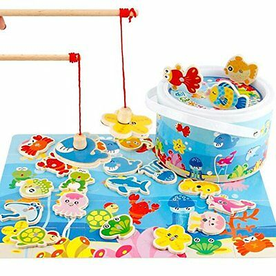 Baby Educational Toys Toddler Learning Wooden Fishing Puzzle Game  Kid Children