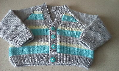 Hand knitted baby boys cardigan, 0-6 months approx