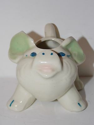 Small Vintage Pottery Pig Planter - Green Ears - Shawnee?