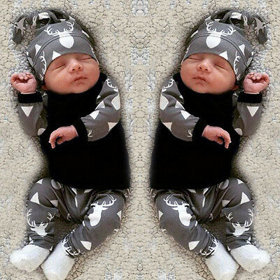 3PCS Newborn Infant Baby Boy Girl Long Sleeve Tops+Pants+Hat Set Outfits Clothes