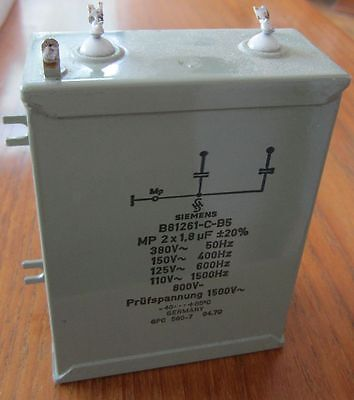 High Voltage Paper in Oil Capacitor - Siemens - 1.8UF - 800V