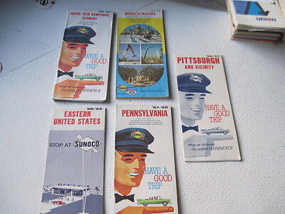 Collection Of 5 Vintage Sunoco Road Maps...