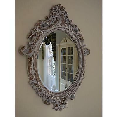 French Vintage Style Distressed Carved Oval Wall Mirror Bevelled Glass 84cm x 61