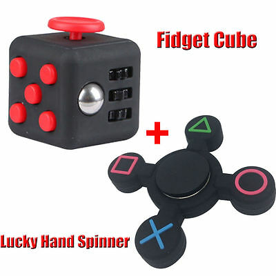 Fidget Hand Cube Spinner PlayStation PS4 Finger Focus Toy ADHD Anti Stress OB
