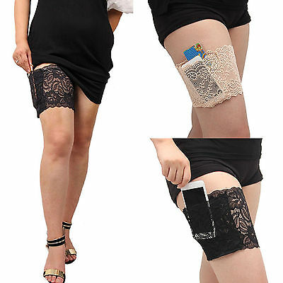 NEW Lace Non Slip Leg Warmers Mobile Phone Bag Holder Ladies Pocket Garters