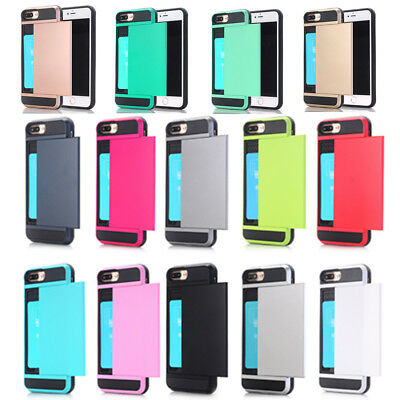 Shockproof Credit Card Slide Armor Case Cover For iPhone X XS Max XR 6s 7 8 Plus