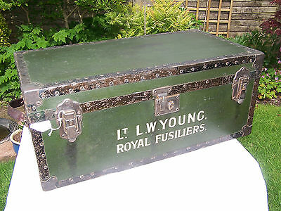 Trunk Antique 'overpond' Metal Bound Pine Cabin Trunk Chest Army Royal Fusiliers