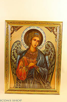 guardian angel christian orthodox icon in golden frame 15x20 cm