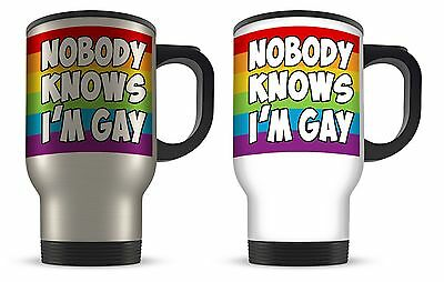 14oz Nobody Knows I'm Gay Aluminium Travel Mug