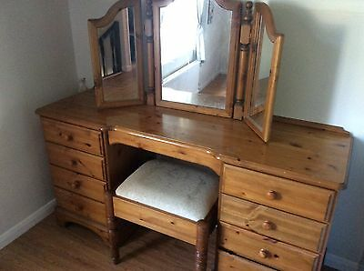 Genuine Ducal Solid Pine Dressing table, stool and Triple mirror