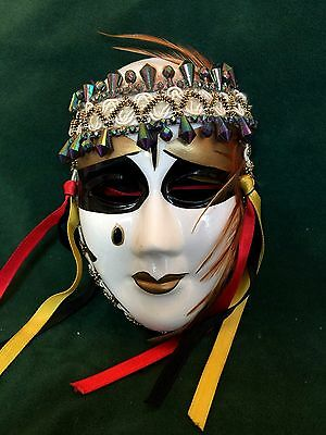 Vintage Ceramic Mardi Gras Mask Hand Painted Porcelain Wall Hanging Retro Decor