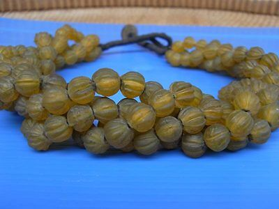 Rare Old Strand glass beads Tibet Vintage Round Melon Necklace.