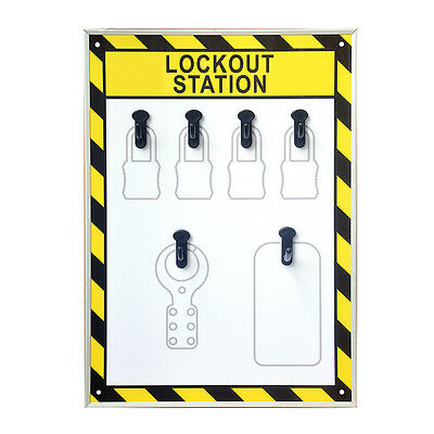 EFLE 6 Hooks Security Lockout Station for Safety Padlocks,Unfilled, Station Only