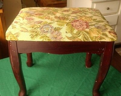 Vintage Vanity, Sewing or Foot Stool with Floral Tapestry Upholstered Seat