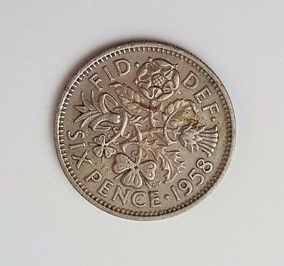 1958 - 6d / Sixpence - Great Britain - Queen Elizabeth II - English UK Coin