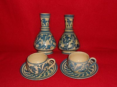 Early 1900s,Aller Vale Torquay Pottery,Pair Of Vases + Teacups and Saucers.