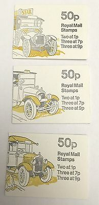Gb Stamp Booklet 1978  Set Of 3 - 50P -  Commercial Vehicles