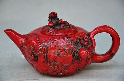 Beautiful Chinese Red Coral Hand Carved Monkey Teapot