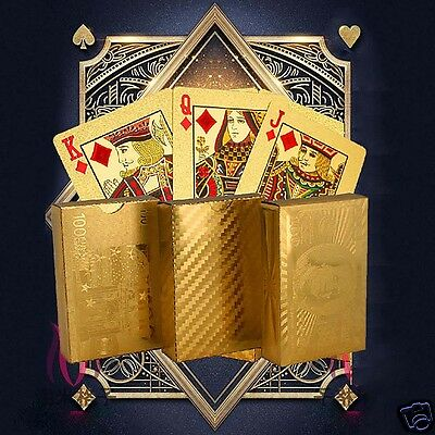 Newly Waterproof 24K Gold Foil Plated Cover Poker 54 Playing Cards Table Game