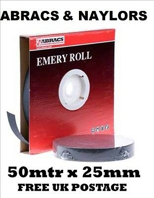 50m ROLL ALL GRITS Emery Cloth Paper Sheet Metalworking Sanding 40 60 80 120 150