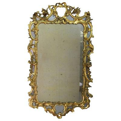 Antique Georgian Wood Carved Gilt Mirror circa 1750
