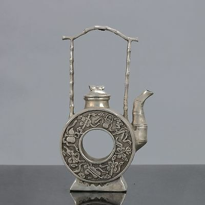 Old Chinese Tibet Silver Handwork Eight Immortals Teapot W Xuande Mark