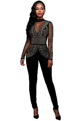 Black Studded & Mesh Steampunk Jumpsuit Catsuit Summer Wear Size UK 8-10