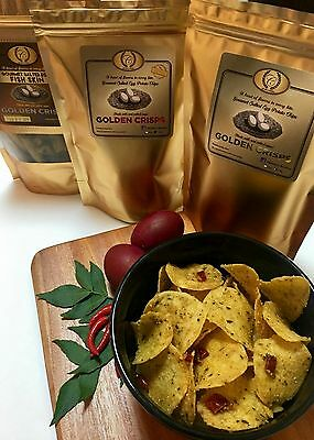 Gourmet Salted Egg Potato Chips and Fish Skin Combo - 3 x Big Pouch (100g)