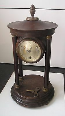 Late Victorian/edwardian Portico Mantel Clock, Wood & Brass.