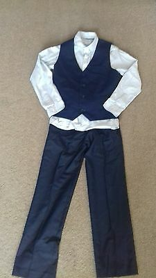 Next Boys Wedding Occasion Suit Waistcoat and Trousers Set age 9. Navy Blue