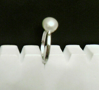 Sterling Silver White Pearl Ring Size P