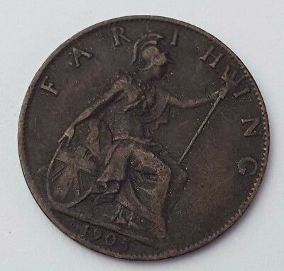 Dated : 1905 - Copper - One Farthing - Coin - King Edward VII - Great Britain