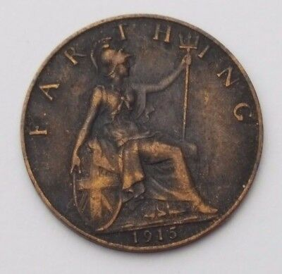 Dated : 1915 - Copper - One Farthing - Coin - King George V - Great Britain