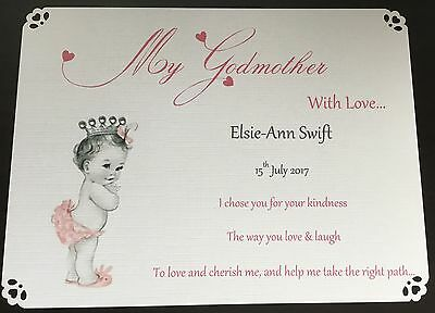 Personalised Thank You Godparent Card Godmother Godfather