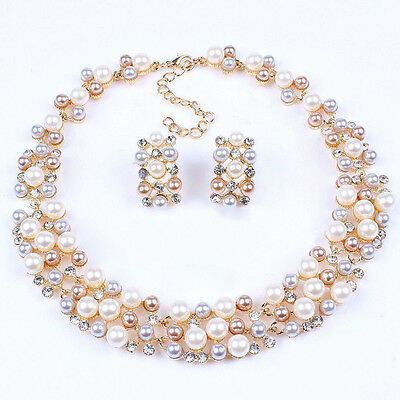 Vintage Wedding Bridal Jewelry White Color Sets Necklace Pearl Fashion Lady