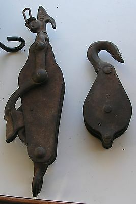 Antique Cast Iron Block And Tackle Vintage