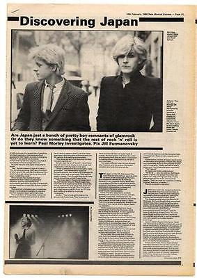 Japan David Sylvian  Interview NME Cutting 1980