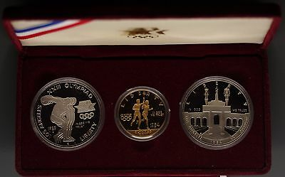 1984 USA Olympics $10 & $1 Dollars Commemorative Gold & Silver (3 coins total)