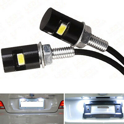 2X White Motorcycle Screwt SMD LED Bolt Lamp Car Universal License Plate Light
