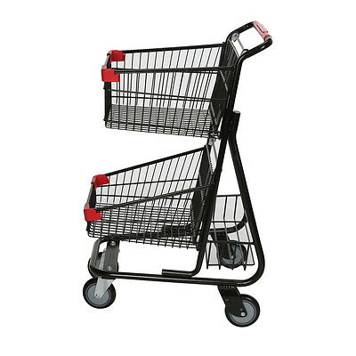 Shopping Cart Double Basket Super Market Convenience Store Black Lot of 6 NEW