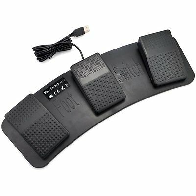 iKKEGOL Mechanical USB Foot Control Action Three 3 Triple Switch Pedal HID free