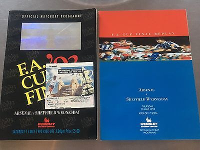 Arsenal v Sheffield Wednesday 1993 FA Cup Final and Replay programme Plus Ticket