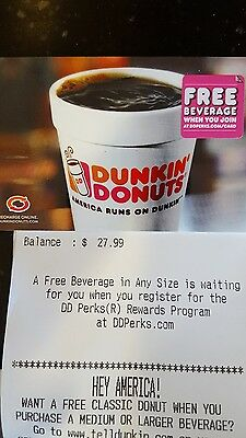 Dunkin Donuts $27.99 Gift Card for $24.99- free shipping