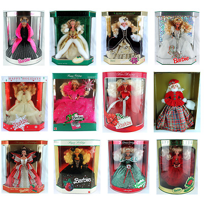 Lot(12) Mattel Barbie Happy Holidays Special Edition 1988-1998 New