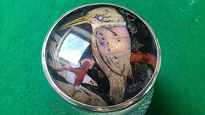 Very Rare Art Deco Silver Topped Butterfly Wing Jar 1924 Birmingham Aide Brother
