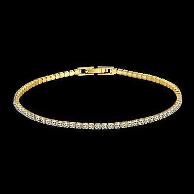 18K Yellow gold GF 1CWT Lab Created Diamond Tennis Solid women bracelet  8 inch'