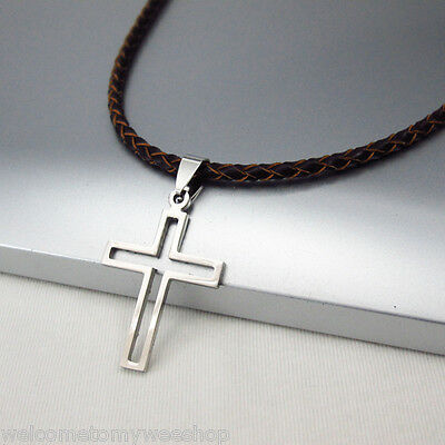 NEW Silver Celtic Cross Stainless Steel Pendant Braided Brown Leather Necklace